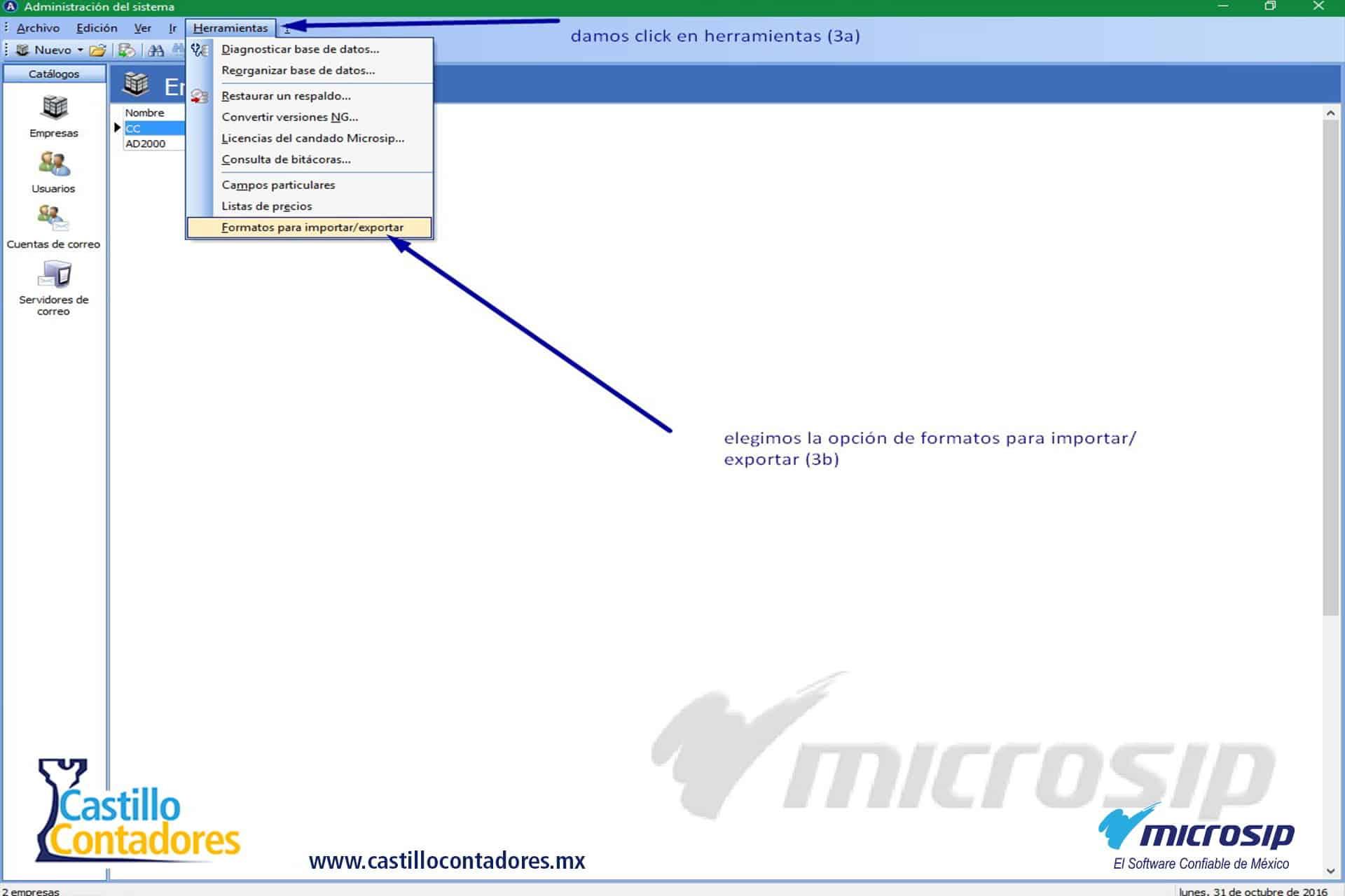 manual microsip: como importar y exportar documentos.parte 1